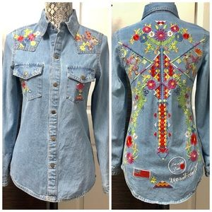 Free People Home Made Embroidery Denim Shirt